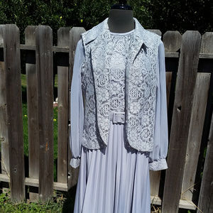 60's/70's Vintage gray dress w/jacket long sleeves